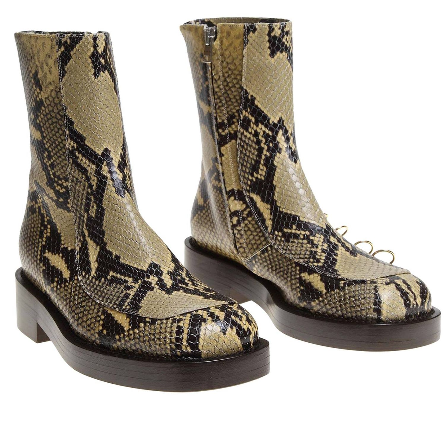 Marni ankle boots in python-print leather with piercing multicolor 2