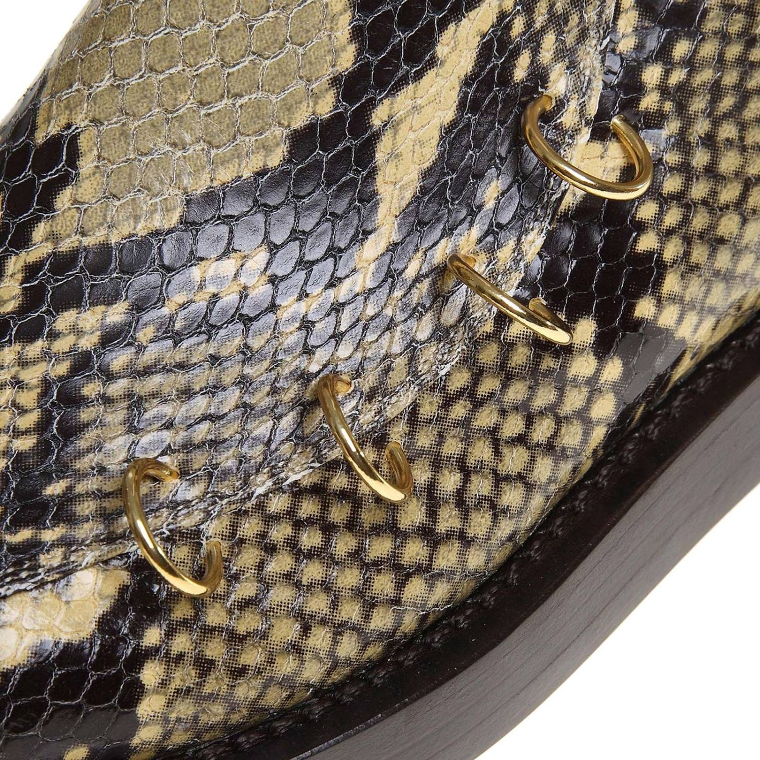 Marni ankle boots in python-print leather with piercing multicolor 4