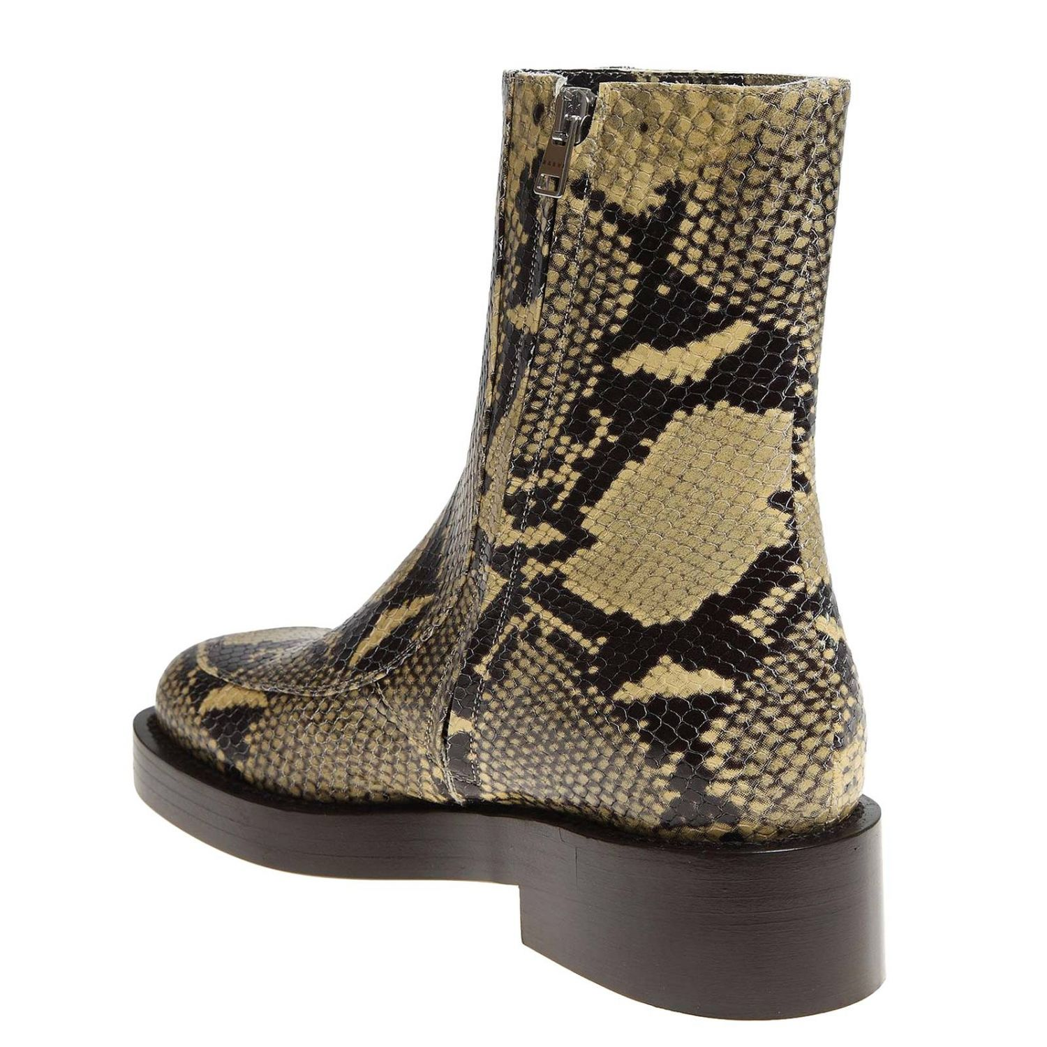 Marni ankle boots in python-print leather with piercing multicolor 5