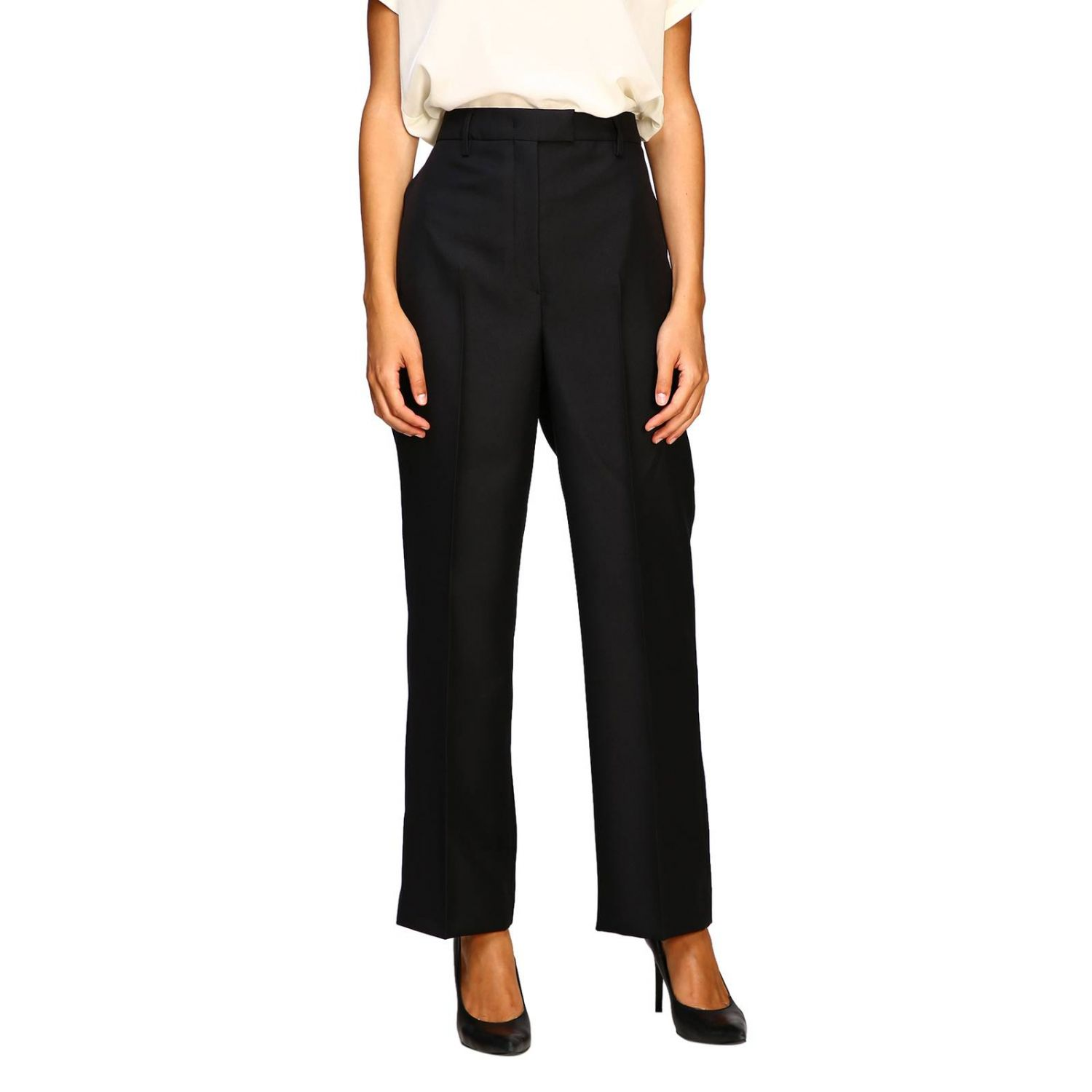 Prada classic high-waisted pants black 1