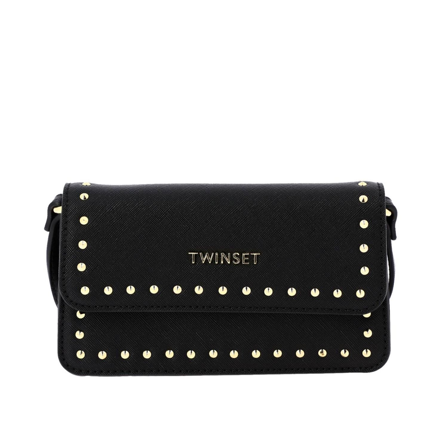 Shoulder strap Twin Set: Twin-set saffiano synthetic leather shoulder bag with logo and studs black 1