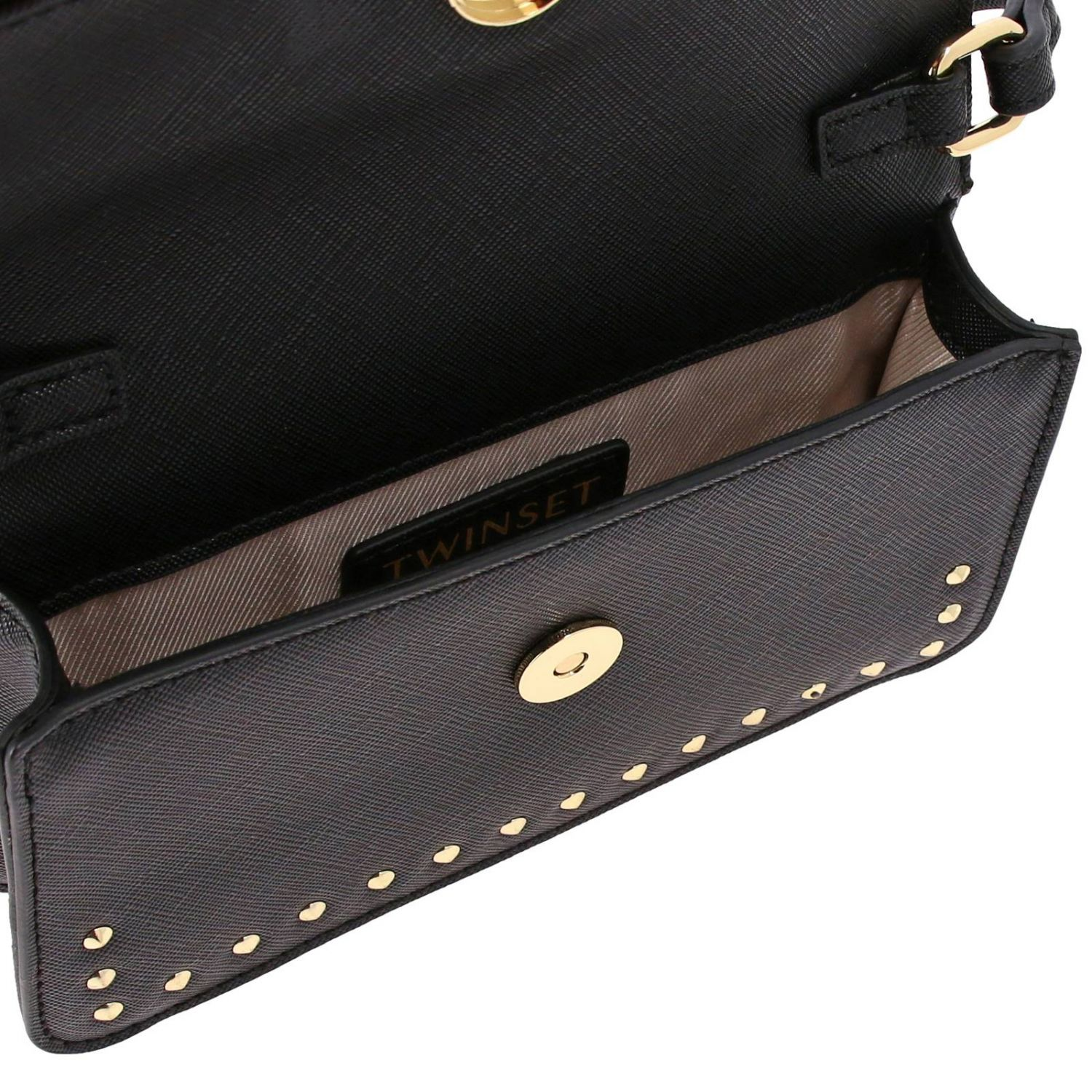 Shoulder strap Twin Set: Twin-set saffiano synthetic leather shoulder bag with logo and studs black 5