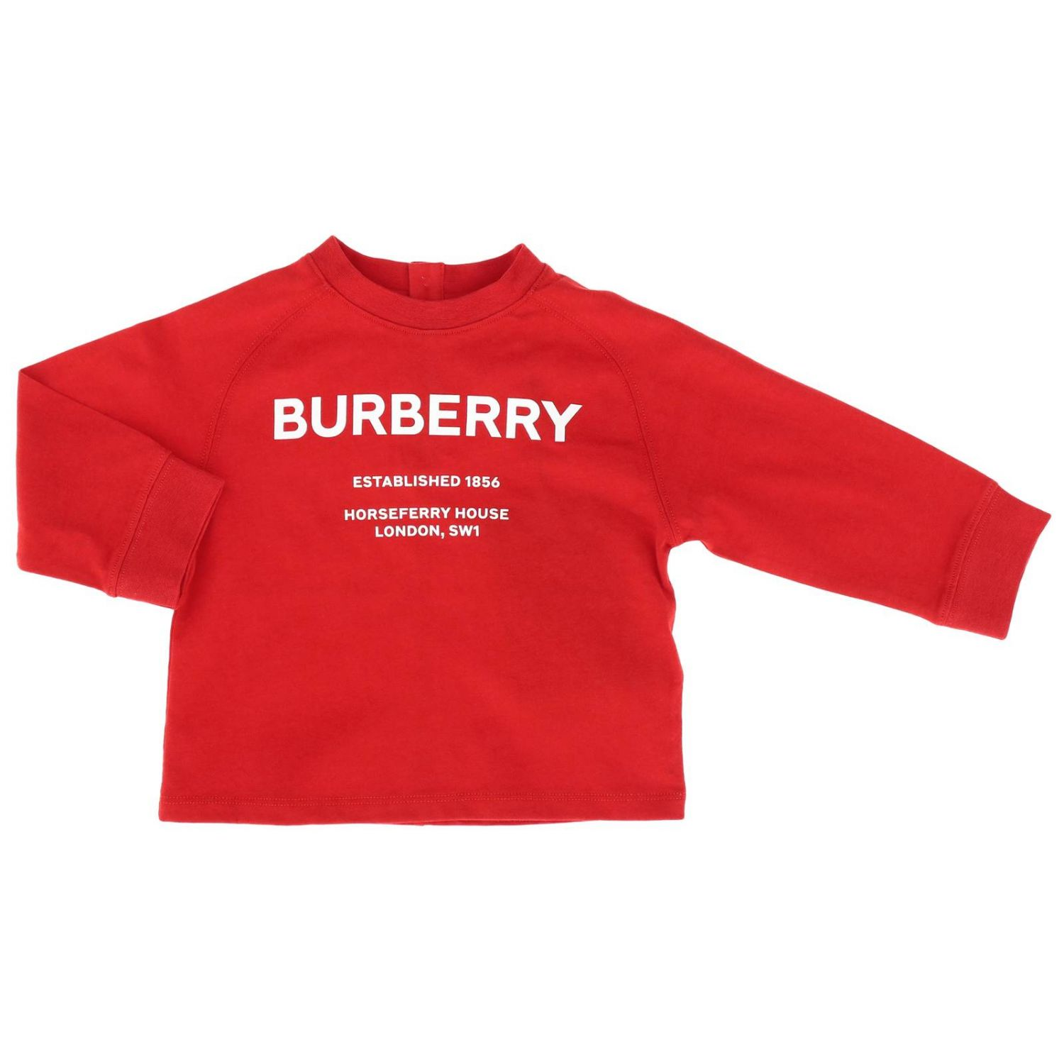 T-shirt Burberry Infant a maniche lunghe con maxi stampa logo rosso 1