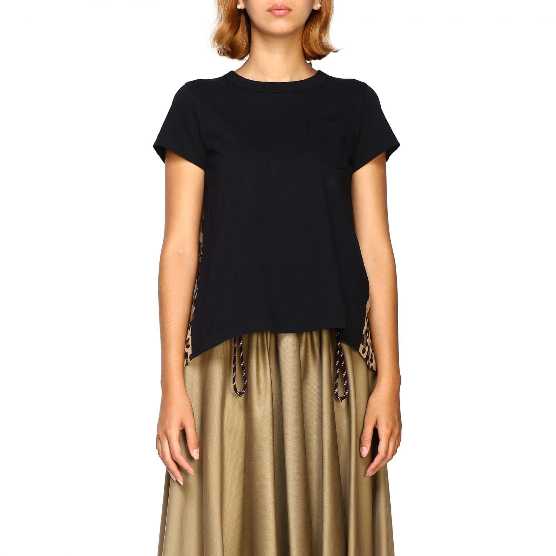 T-shirt femme Sacai beige 1