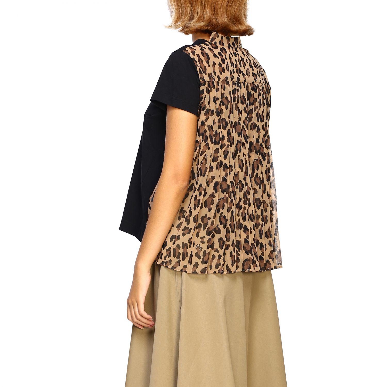 T-shirt femme Sacai beige 3