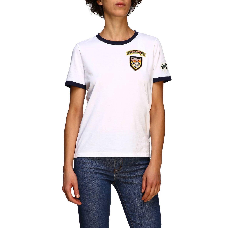 T-shirt Tory Burch: T-shirt Tory Burch a maniche corte con patch logo bianco 1