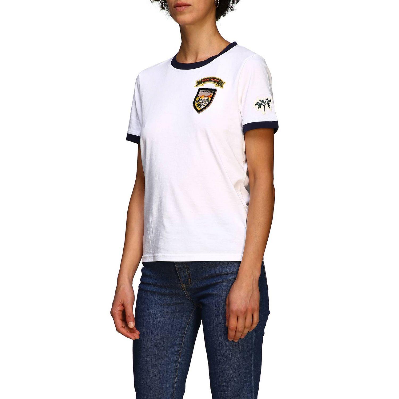 T-shirt Tory Burch: T-shirt Tory Burch a maniche corte con patch logo bianco 4