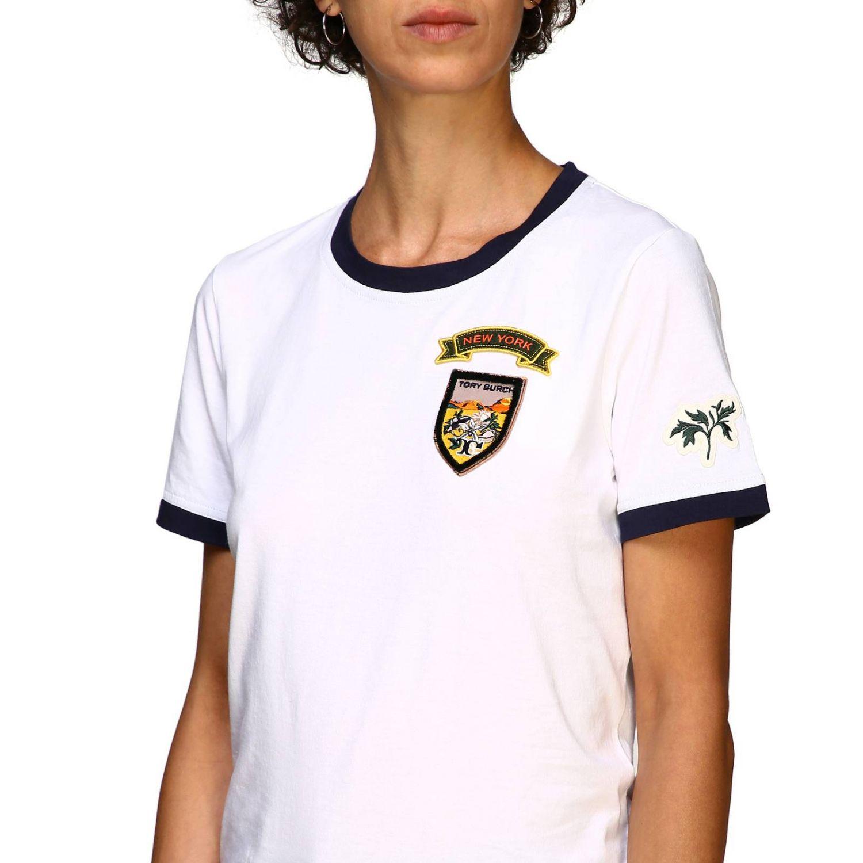 T-shirt Tory Burch: T-shirt Tory Burch a maniche corte con patch logo bianco 5