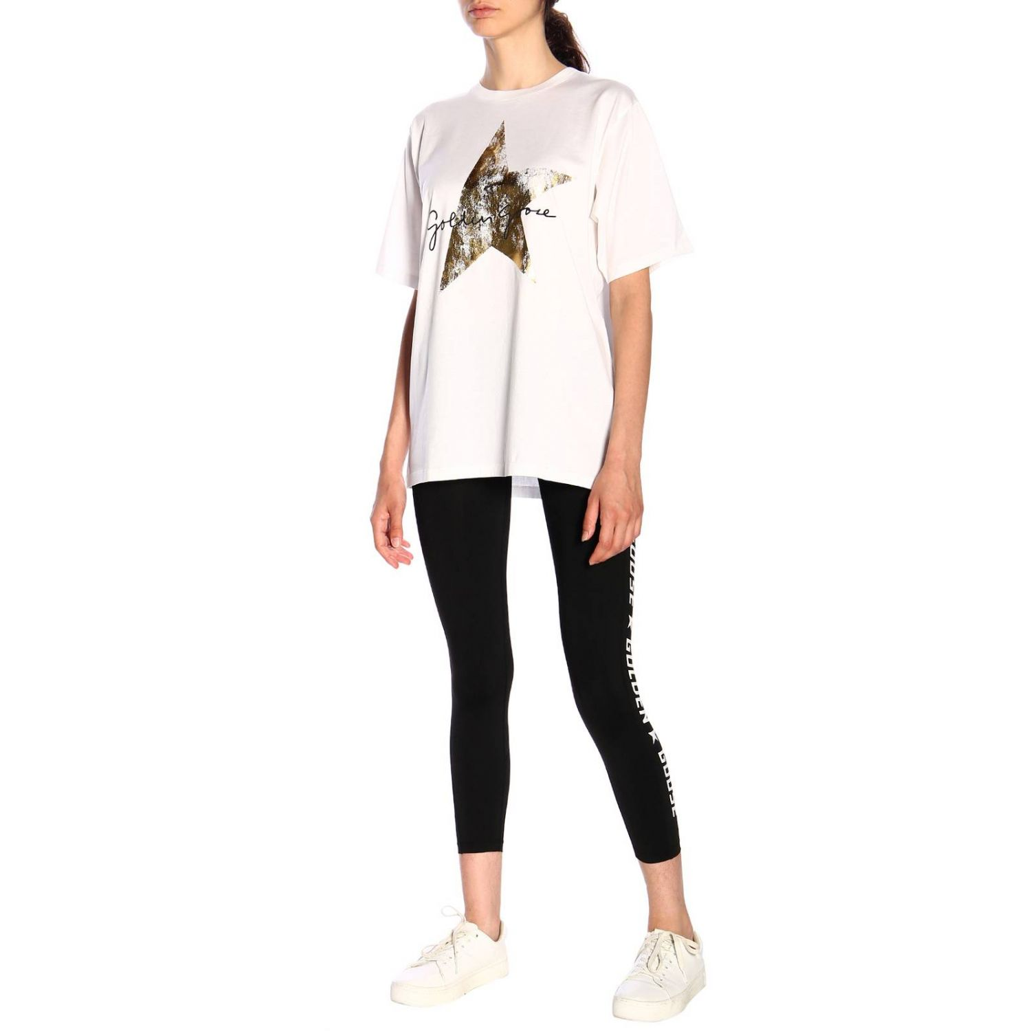 Leggings Golden Goose lurex con maxi logo nero 2