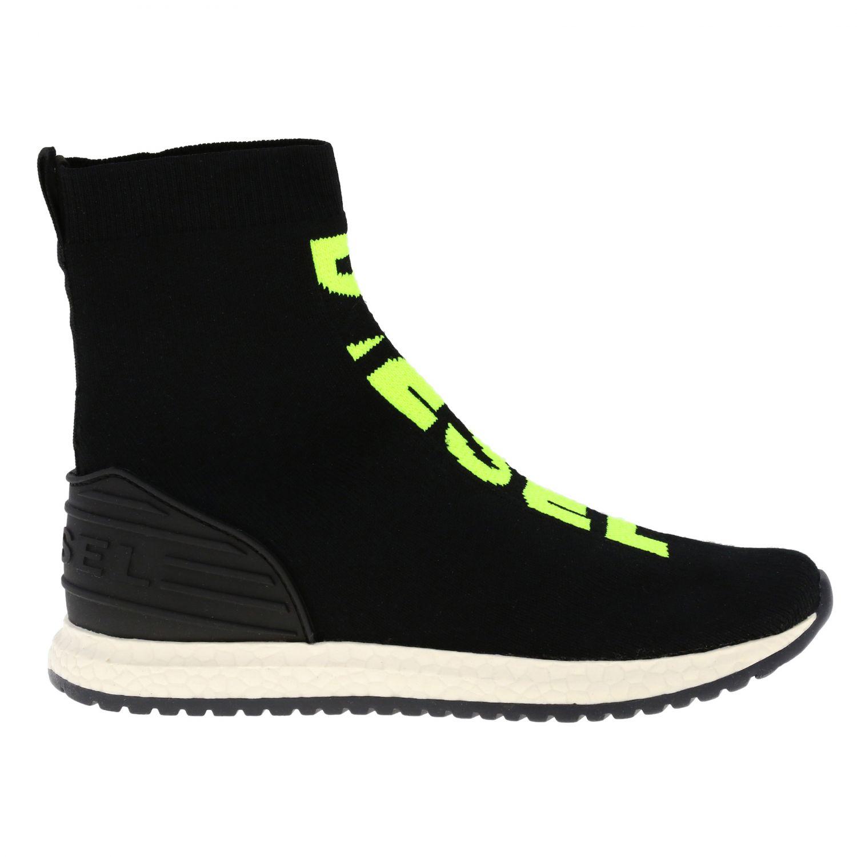 Sneakers Diesel slip on a calza con logo nero 1