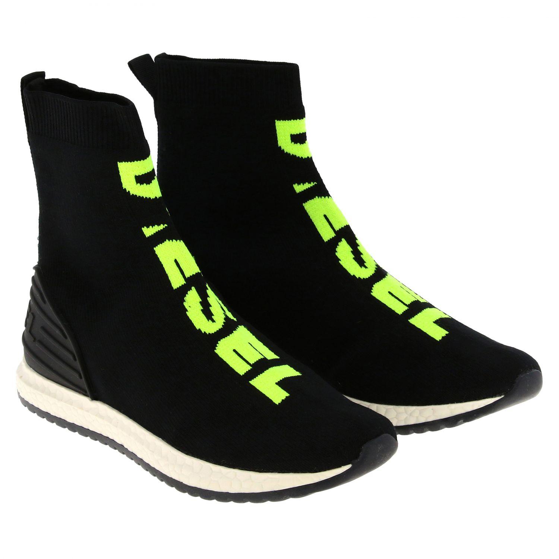 Sneakers Diesel slip on a calza con logo nero 2