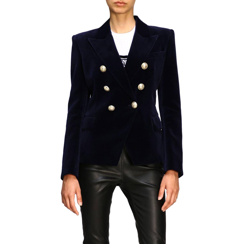 Giacca Balmain a doppiopetto in velluto con bottoni gioiello blue 1