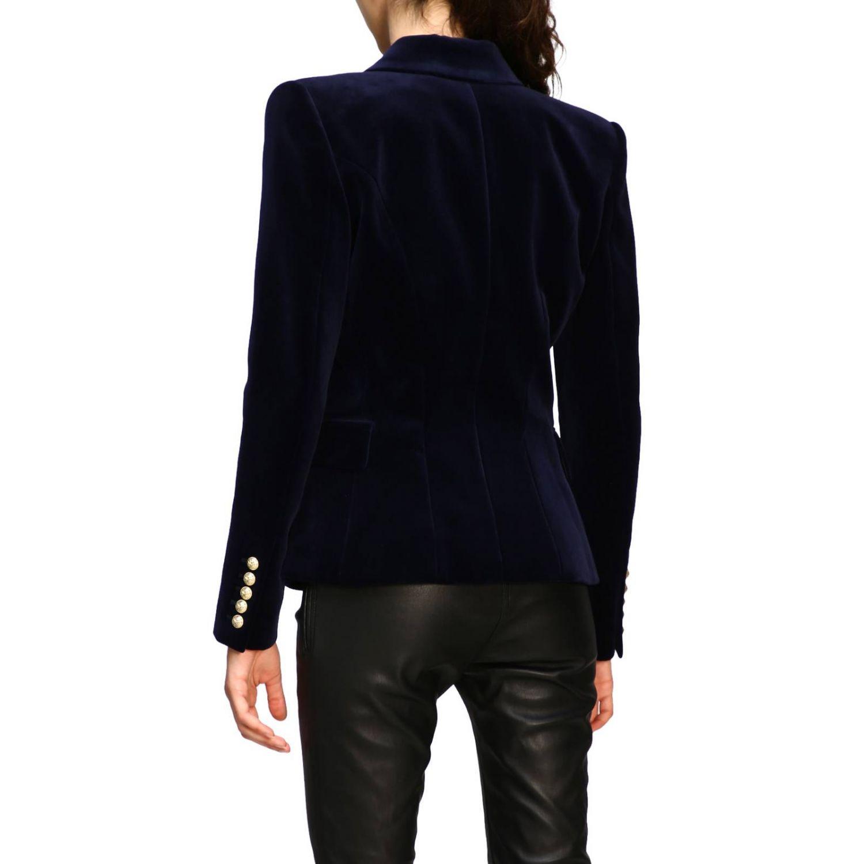 Giacca Balmain a doppiopetto in velluto con bottoni gioiello blue 3
