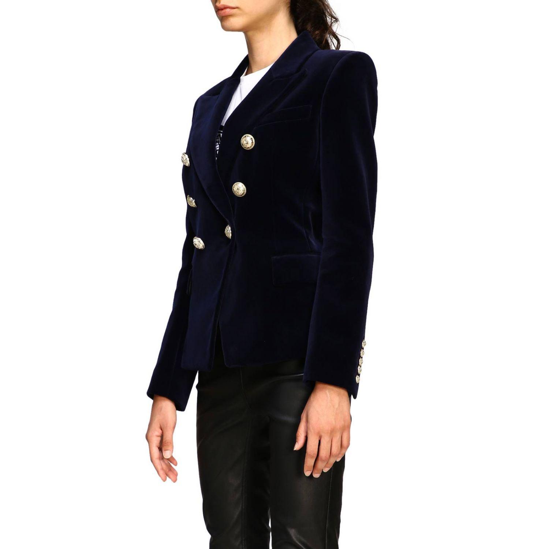 Giacca Balmain a doppiopetto in velluto con bottoni gioiello blue 4
