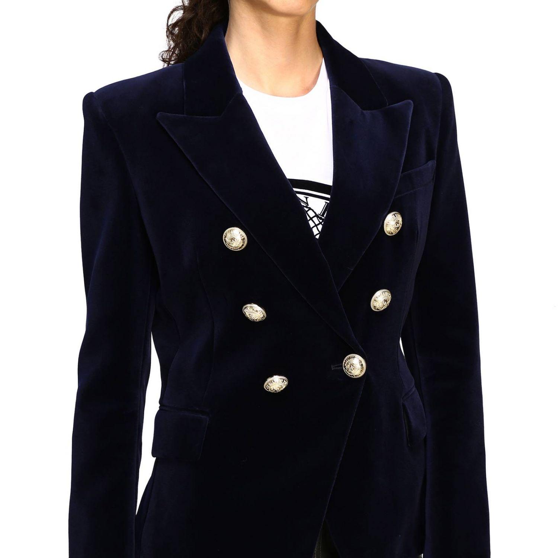 Giacca Balmain a doppiopetto in velluto con bottoni gioiello blue 5