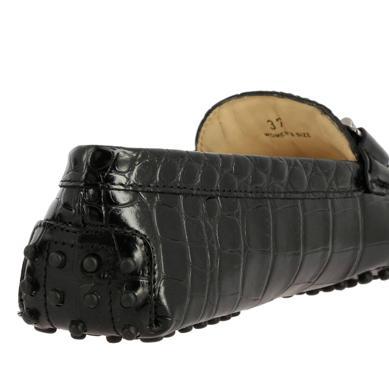 Mocassino Tod's in vera pelle stampa cocco con maxi double T e frange nero 5