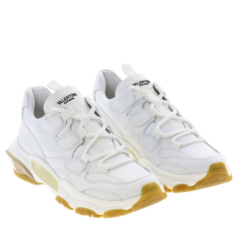 Sneakers Valentino Garavani: Valentino Garavani lace-up sneakers in genuine leather white 2