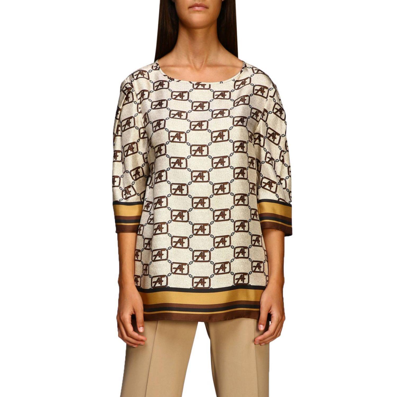 Рубашка Alberta Ferretti: Рубашка Alberta Ferretti с монограммой all over бежевый 1