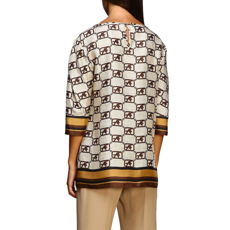 Рубашка Alberta Ferretti: Рубашка Alberta Ferretti с монограммой all over бежевый 3