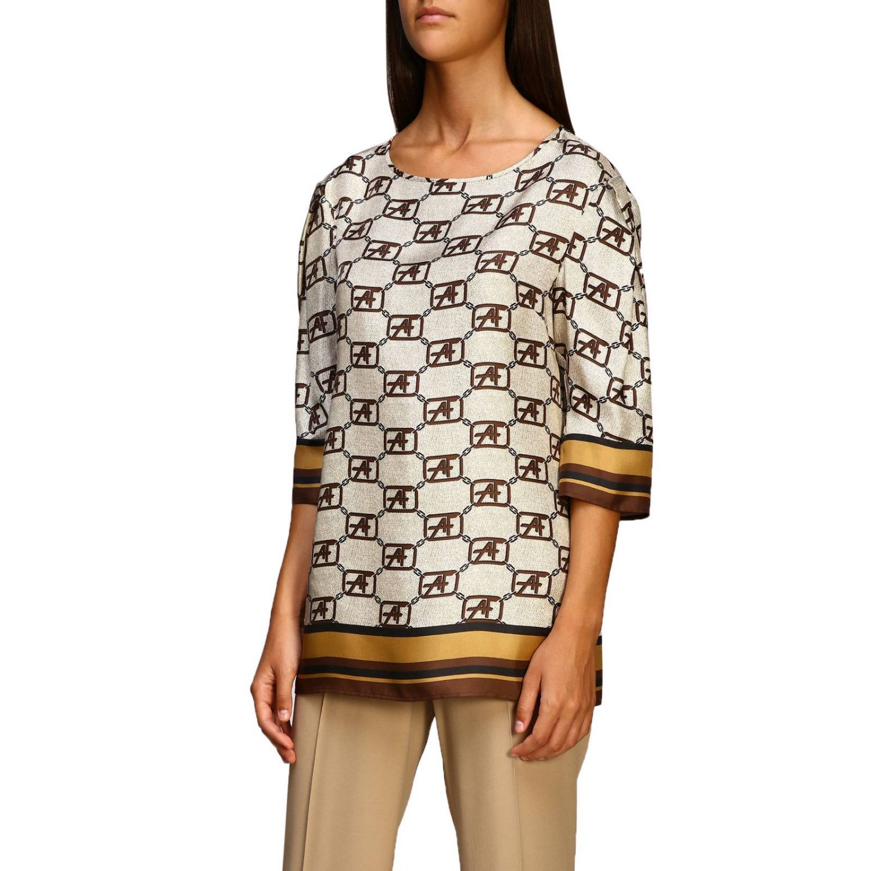 Рубашка Alberta Ferretti: Рубашка Alberta Ferretti с монограммой all over бежевый 4