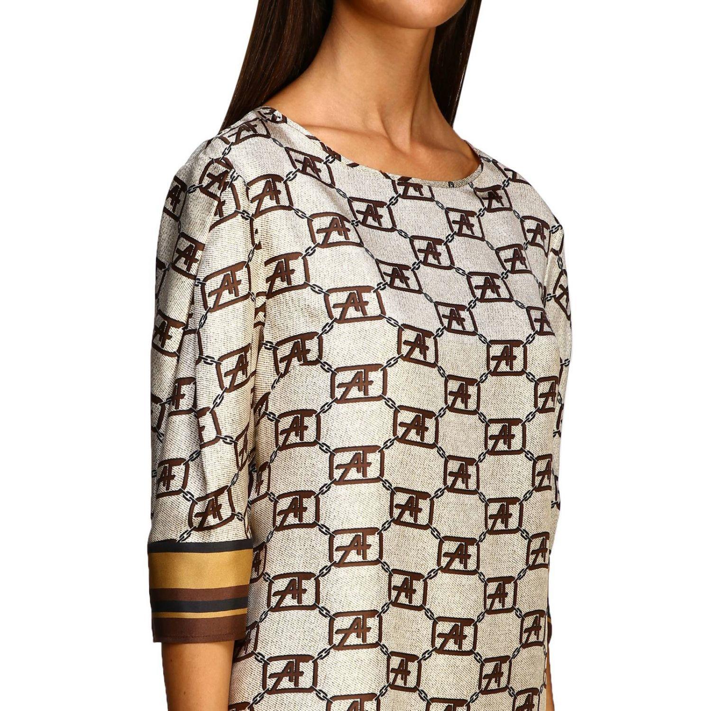 Рубашка Alberta Ferretti: Рубашка Alberta Ferretti с монограммой all over бежевый 5