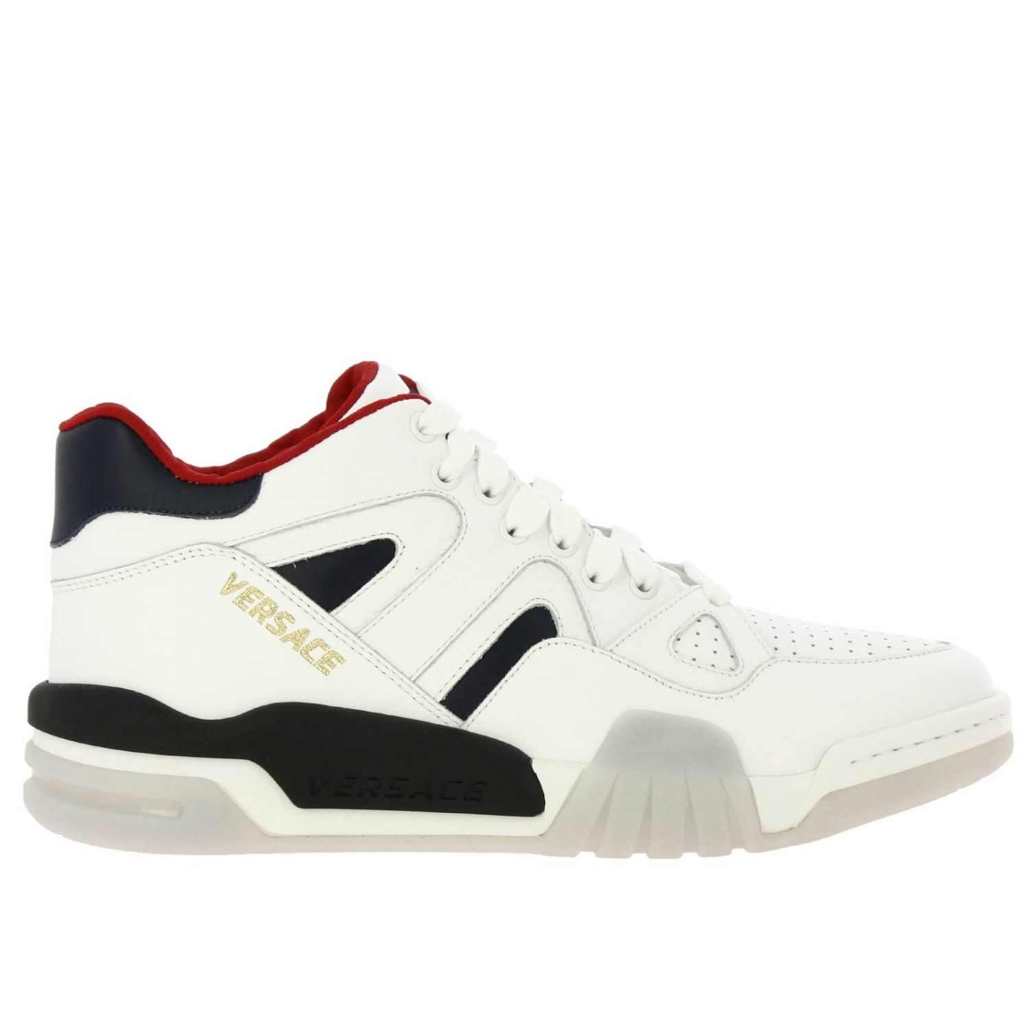 Versace sneakers in leather with maxi rubber sole white 1
