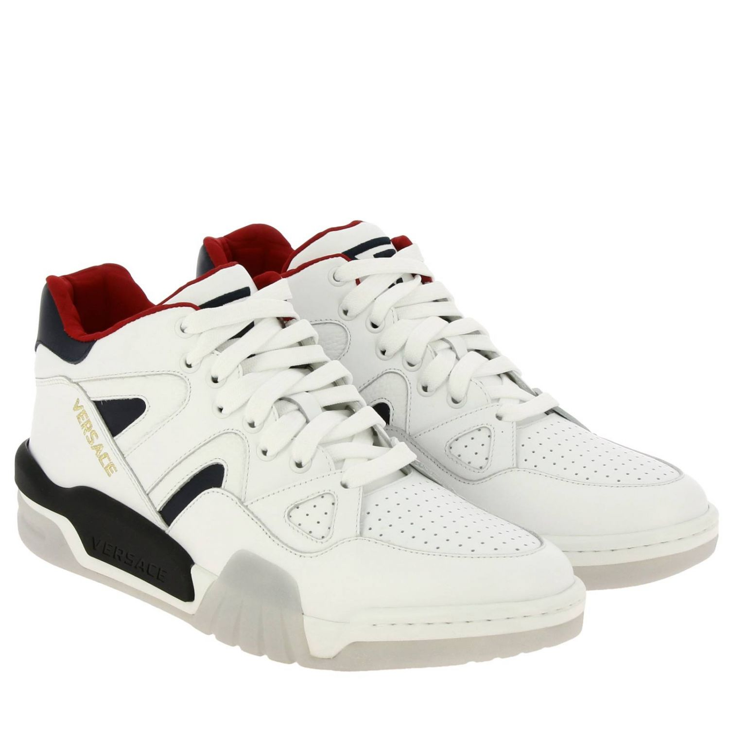 Versace sneakers in leather with maxi rubber sole white 2