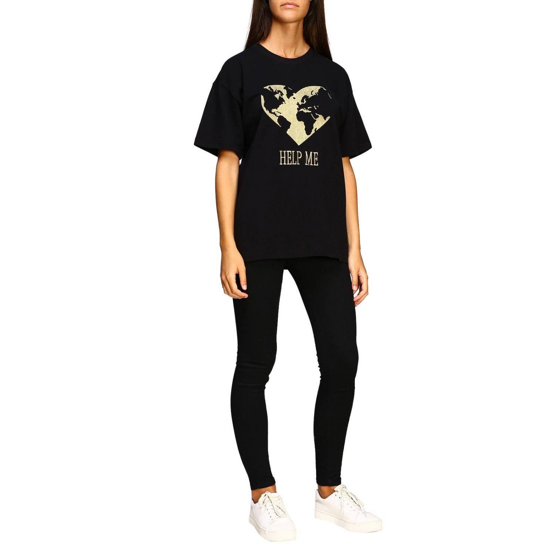 T-shirt Alberta Ferretti: T-shirt Alberta Ferretti a maniche corte con ricamo lurex help me nero 2