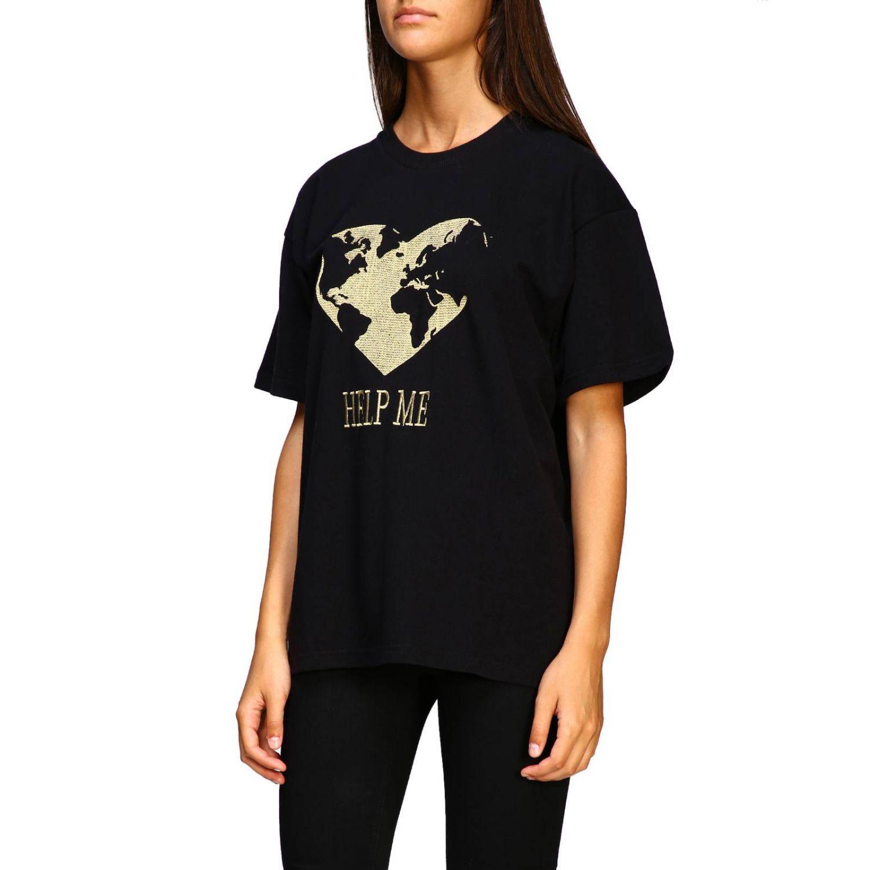 T-shirt Alberta Ferretti: T-shirt Alberta Ferretti a maniche corte con ricamo lurex help me nero 4