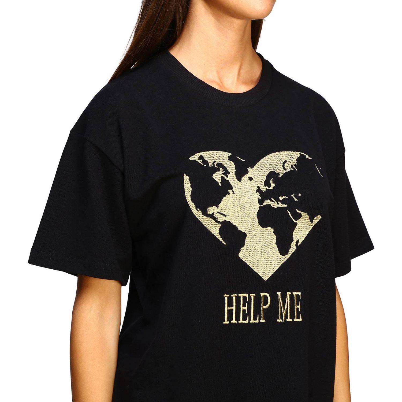 T-shirt Alberta Ferretti: T-shirt Alberta Ferretti a maniche corte con ricamo lurex help me nero 5