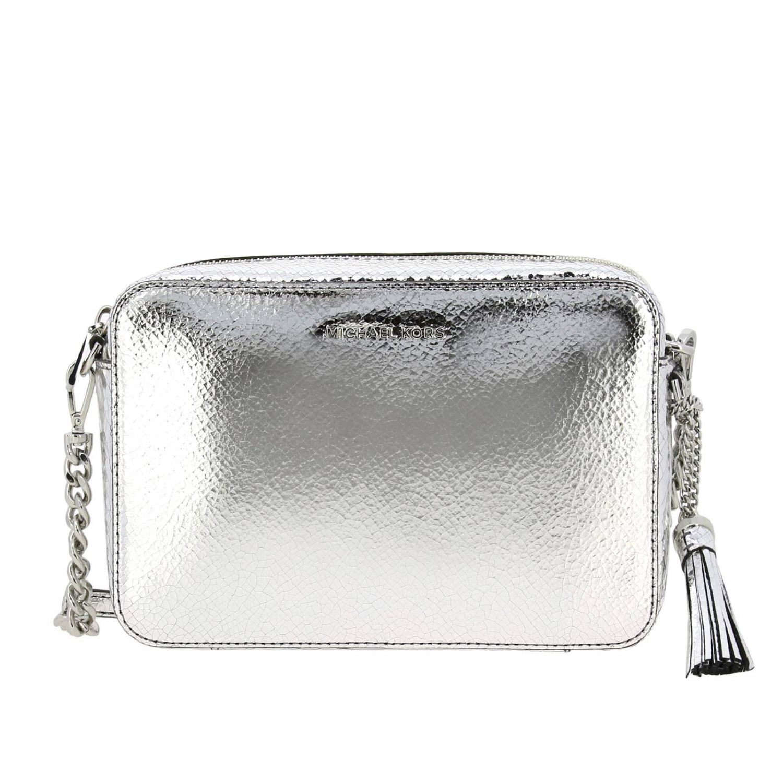 Borsa Michael Michael Kors camera bag in pelle laminata con logo argento 1