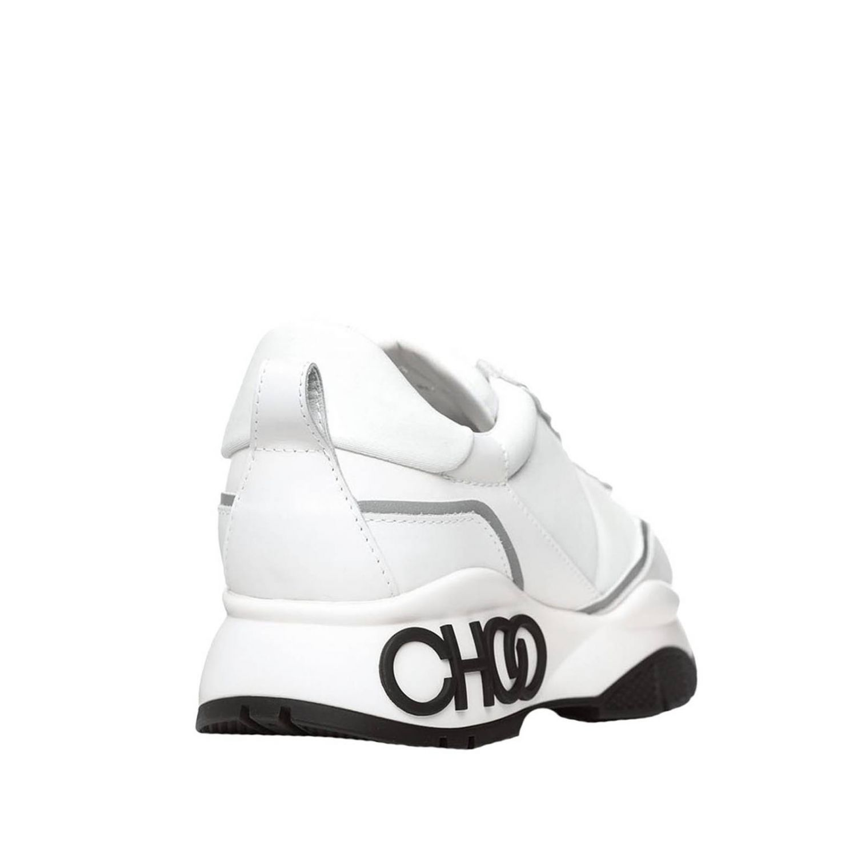 Jimmy Choo Sneakers aus Leder mit Maxi-Logo weiß 3