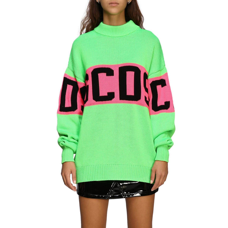 Pullover GCDS a maniche lunghe con maxi logo verde 1
