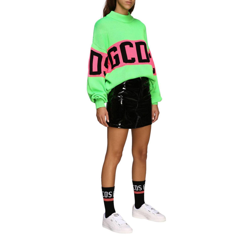 Pullover GCDS a maniche lunghe con maxi logo verde 2