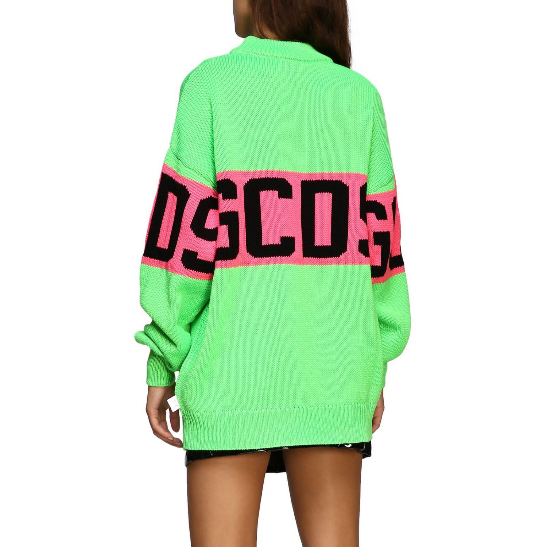 Pullover GCDS a maniche lunghe con maxi logo verde 3