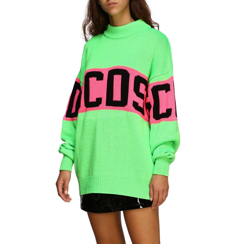 Pullover GCDS a maniche lunghe con maxi logo verde 4