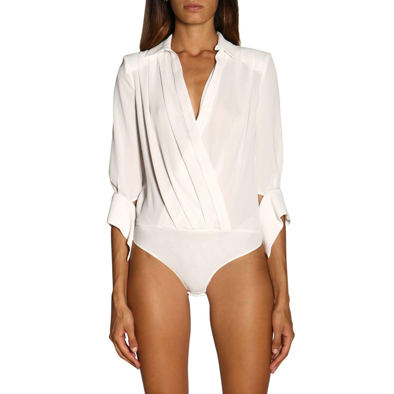 Боди Elisabetta Franchi: Рубашка Женское Elisabetta Franchi слоновая кость 1