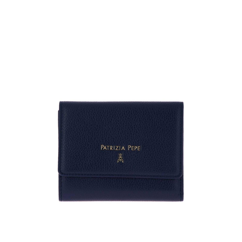 Patrizia Pepe Geldbörse aus strukturiertem Leder mit Logo blau 1