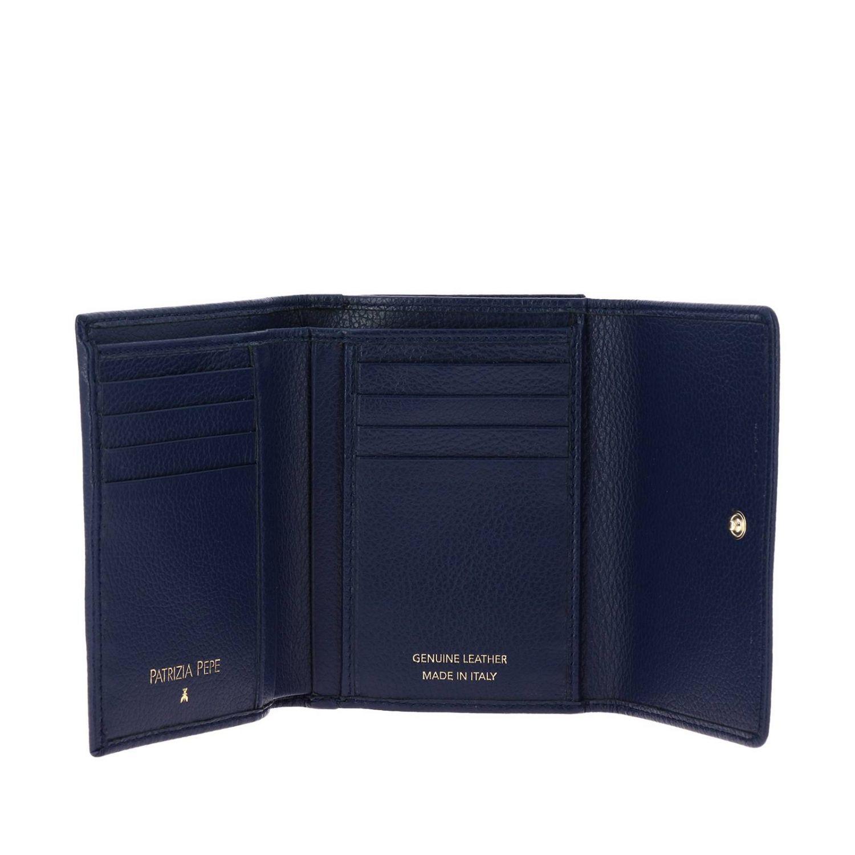 Patrizia Pepe Geldbörse aus strukturiertem Leder mit Logo blau 2