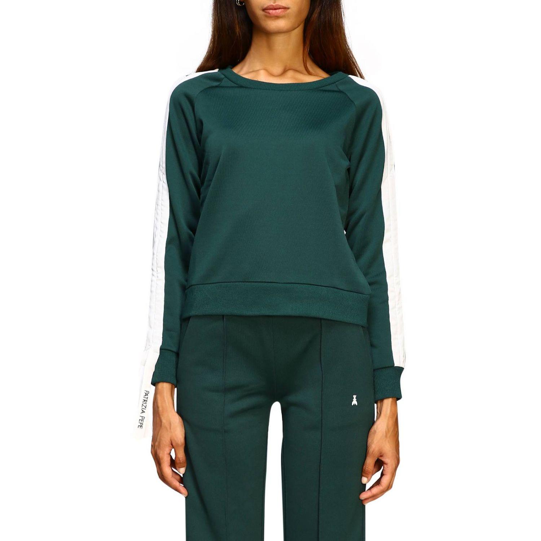 Patrizia Pepe Sweatshirt mit Rundhalsausschnitt und Streifen grün 1