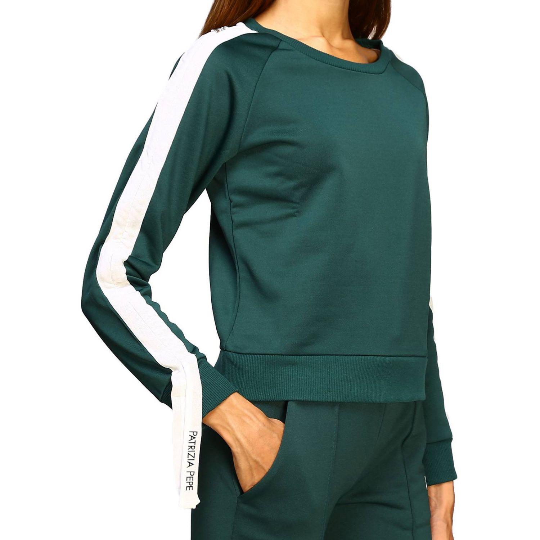 Patrizia Pepe Sweatshirt mit Rundhalsausschnitt und Streifen grün 5