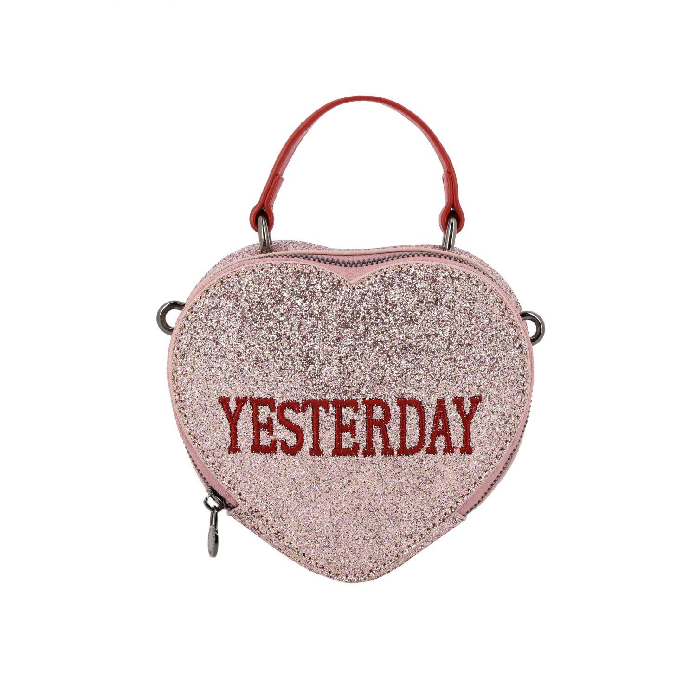 Borsa Alberta Ferretti Junior: Borsa Alberta Ferretti Junior glitter con ricamo Tomorrow rosa 1
