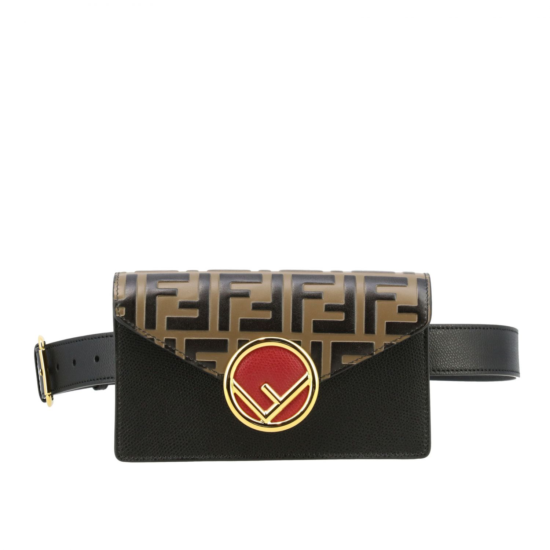 Мини-сумка Fendi: Поясная сумка Fendi из кожи с логотипом табачный 1