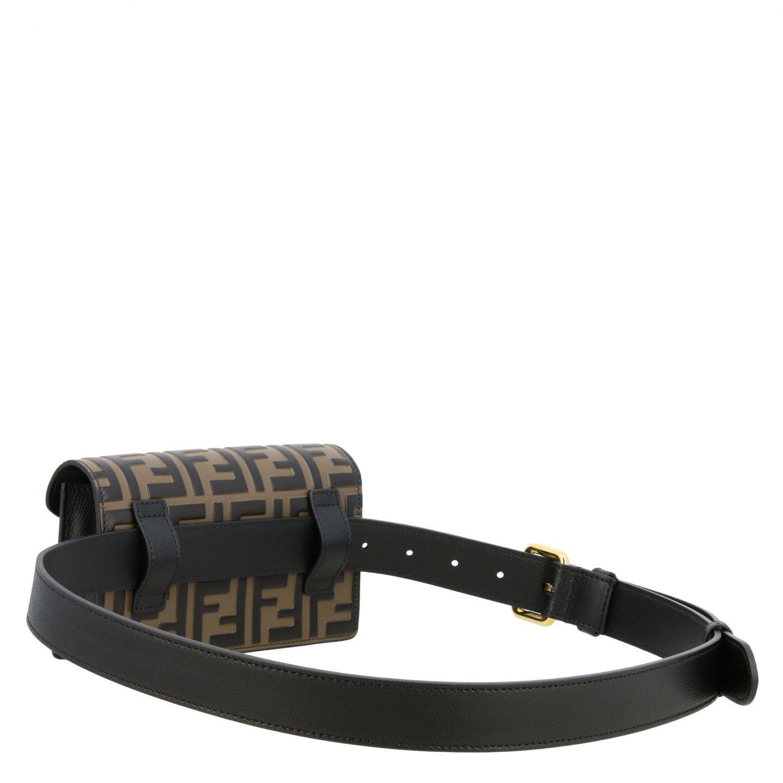 Мини-сумка Fendi: Поясная сумка Fendi из кожи с логотипом табачный 3