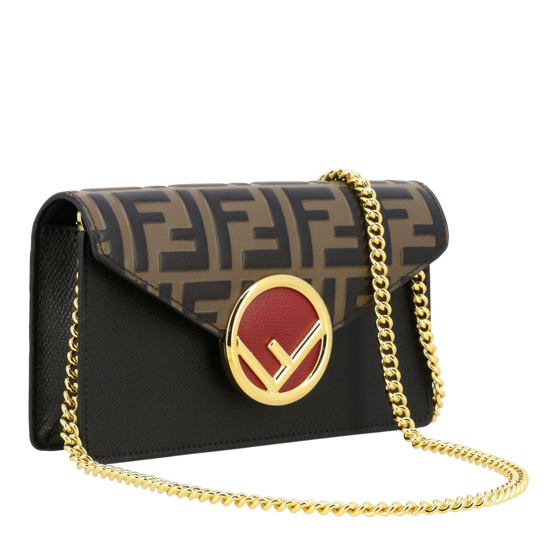 Мини-сумка Fendi: Поясная сумка Fendi из кожи с логотипом табачный 4
