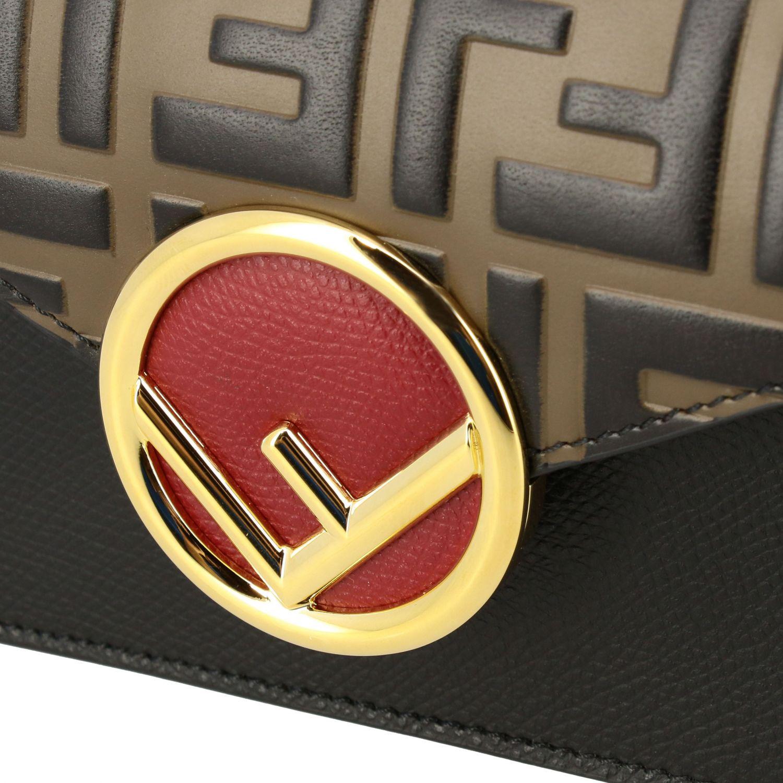 Мини-сумка Fendi: Поясная сумка Fendi из кожи с логотипом табачный 5