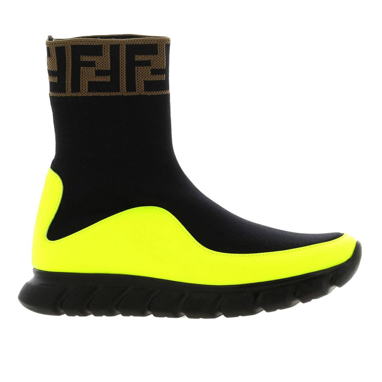 Baskets Fendi slip on chaussette en vrai cuir et tissu stretch avec monogramme FF jaune 1