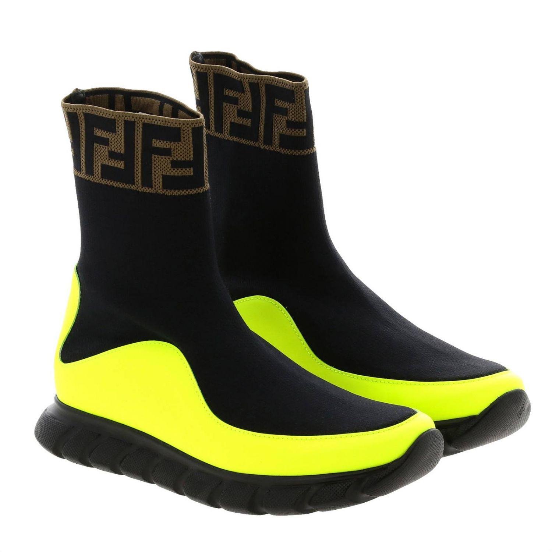 Baskets Fendi slip on chaussette en vrai cuir et tissu stretch avec monogramme FF jaune 2