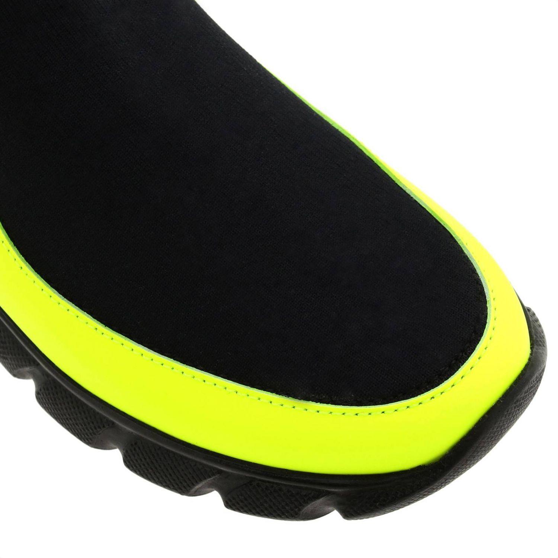 Baskets Fendi slip on chaussette en vrai cuir et tissu stretch avec monogramme FF jaune 3