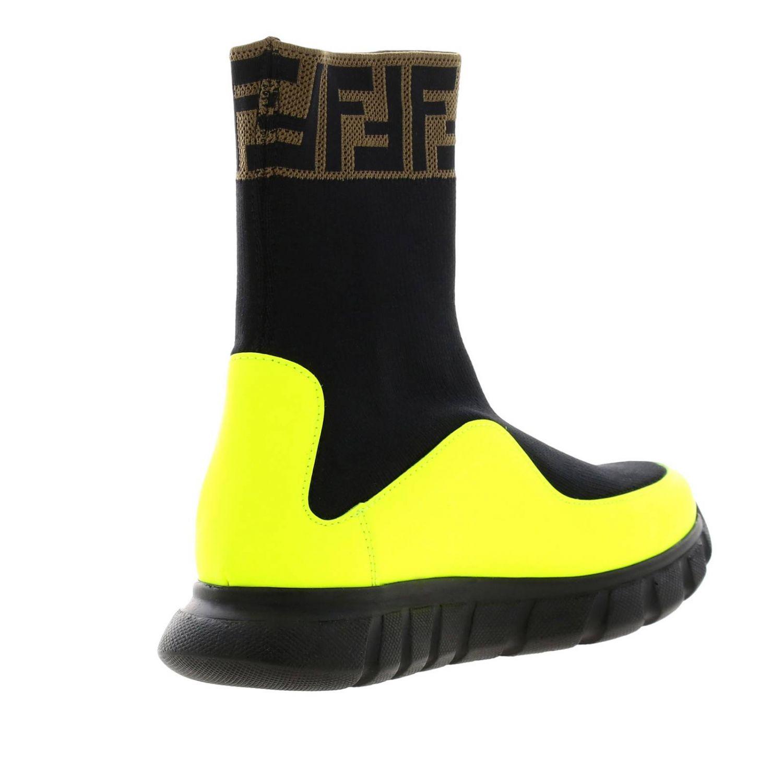 Baskets Fendi slip on chaussette en vrai cuir et tissu stretch avec monogramme FF jaune 4